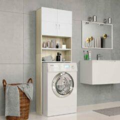 Beige VidaXL Wasmachinekast 64x25,5x190 cm spaanplaat wit en eikenkleurig