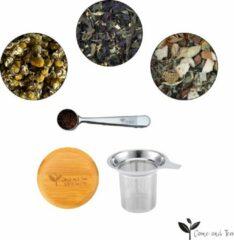 Come and Tea - 3 verschillende soorten thee 225gr + Thee zeef + Maatlepel - Luxe thee pakket - Verse thee - Losse thee - Zwarte thee - Groene thee - Thee cadeau
