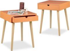 Relaxdays 2x Nachttisch im Set ARVID Nacht-Kommoden Nachtschrank Nachttischschrank orange