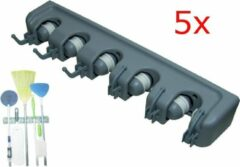 Grijze QuniQ® QuniQ 5x Ophangsysteem gereedschapshouder bezemhouder voor tuingereedschap, bezems, dweilstokken, sportmateriaal enz voor 5 stelen