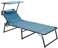 Aluminium Sonnenliege Gartenliege XXL Alu Liege mit Dach Dreibeinliege Textilene blau 200x70 cm bis Meerweh blau