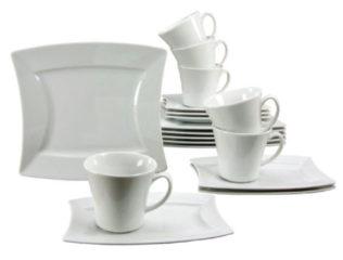 CreaTable 19956 Kaffeeservice Sailing, für 6 Personen, Porzellan, weiß (1 Set, 18-teilig)