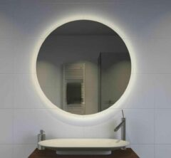 Grijze Designspiegels.nl Ronde badkamerspiegel met indirecte verlichting, verwarming, touch sensor en dimfunctie 60x60 cm
