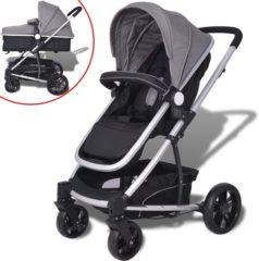 VidaXL Kinderwagen 2-in-1 grijs en zwart aluminium