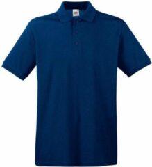 Fruit of the Loom 3-Pack Maat XL - Donkerblauwe/navy poloshirts premium van katoen voor heren - katoen - 180 grams - polo t-shirts