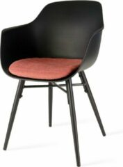 Nolon Nova eetkamerstoel - Zwarte zitting met armleuningen en terracotta rood zitkussen