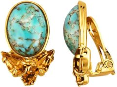 Oorclips met turkoois Golden Style Turquoise