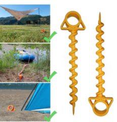 Gele Tulp Commerce Tentharing met Schroefdraad - Kunststof Grondanker voor Extra Grip Outdoor - Anker Pin - Grondpen - Roestvrij Duurzaam Materiaal - 29 cm
