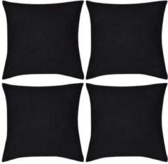 Zwarte VidaXL Kussenhoezen katoen 50 x 50 cm zwart 4 stuks