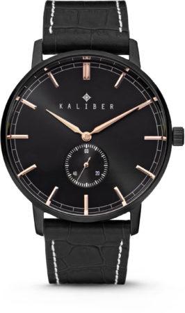 Afbeelding van Kaliber 7KW-00005 - Stalen Horloge met Leren Band - Zwart en Rosékleurig - 40 mm