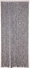 Antraciet-grijze Lesliliving Lesli Living Chenille - Vliegengordijn - 90x220 cm - Antraciet/Wit