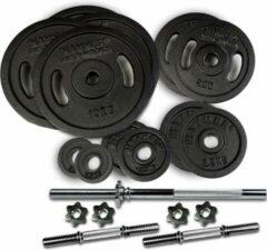 Zilveren Hammer Fitness Hammer 73 kg SET Halterschijven Gietijzer en halterstangen