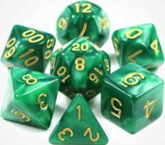 Merkloos / Sans marque Dobbelstenen voor Dungeons & Dragons - Polydice - Marmer - 7 Delige Set - Groen / Goud
