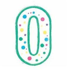 Groene Cijfer / nummer kaarsje - 0 - Wilton