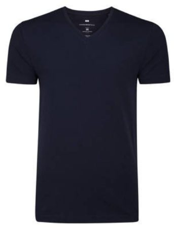 Afbeelding van Marineblauwe WE Fashion Heren organic cotton T-shirt