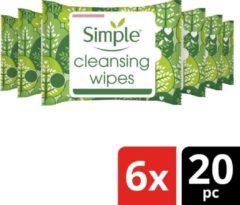 Simple Kind to Skin Reinigingsdoekjes reinigen de huid zachtjes en verwijderen make-up - 6 x 20 wipes - Voordeelverpakking