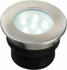 Grijze Garden Lights Grondspot Brevus 7 Cm Rvs Smd-led 1w 12v Zilver