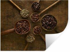 StickerSnake Muursticker Koffieboon - Houten lepels met koffiebonen op een bruine achtergrond - 120x90 cm - zelfklevend plakfolie - herpositioneerbare muur sticker