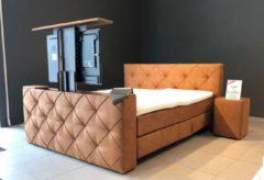 SleepNext - Cognac SleepNext HQ - Luxe Boxspring met TV Lift / 180x200cm / Relax Tan