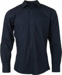 Marineblauwe James & Nicholson James and Nicholson Heren Longsleeve Poplin Shirt (Marine)