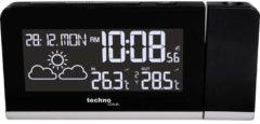 Zwarte Radio gestuurde projectie wekker - Datum - Temperatuur/Weersvoorspelling - Technoline WT 539