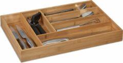 Naturelkleurige Relaxdays bestekbak bamboe - 6 vaks - besteklade - bestek organizer - bestekcassette