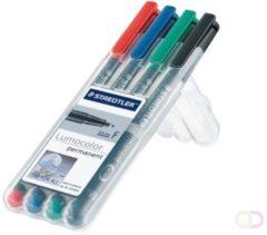 Rode Staedtler 318 WP4 Permanent marker Lumocolor Rood, Blauw, Groen, Zwart Ronde vorm 0.6 mm (max) 4 stuks