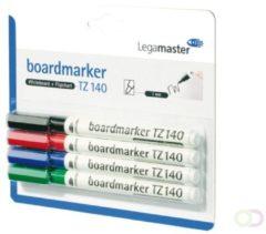 Rode Viltstift Legamaster TZ140 whiteboard rond assorti 1mm 4stuks