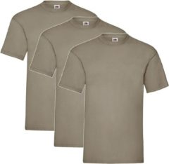 Kaki 3 Pack Shirts Fruit of the Loom Ronde Hals Khaki Maat M Valueweight