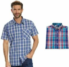 Merkloos / Sans marque Overhemd met korte mouwen blauw geruit maat 45/46
