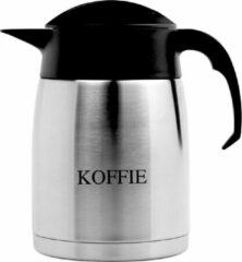 Isoleerkan EasyClean 1,6 liter rvs met opschrift KOFFIE en zwart kunststof dop en handgreep