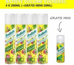 Batiste Droogshampoo Tropical - Volumevoordeel - 4 x 200ml - Gratis Mini 50ml
