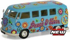 "Volkswagen T1 Campervan ""Peace , Love and Freedom"" Blauw 1-43 Corgi"