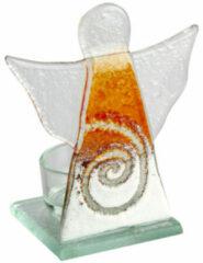 "Theelichthouder ""engel"" van glas, oranje"
