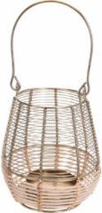 Goudkleurige Merkloos / Sans marque Metalen/rieten lantaarn kaarsenhouder goud 14 x 18 cm - Gouden windlicht - Woonaccessoires/woondecoraties