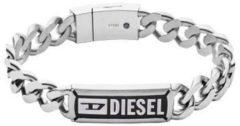 Diesel DX1243040 Armband Steel staal zilverkleurig-zwart 18,5 cm