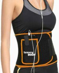 LuxuryBody® Zweetband Buik incl. E-Boek - Waist Trainer met Zak Man/Vrouw - Afslankband - Sauna Belt - Sauna Band - Waist Shaper - Afslankgordel - One Size – Oranje