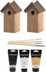 Lifetime 2x stuks houten vogelhuisjes/nestkastjes 22 cm - in het zwart/goud/zilver - Dhz schilderen pakket + 3x tubes verf en kwasten