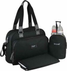 BABY ON BOARD Baby aan boord - luiertas - urban klassieke zwarte tas - 2 compartimenten met brede opening met ritssluiting - 7 zakken - lunchtas - tapijt aan de