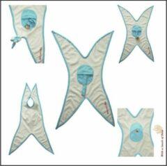 With a touch of Rose - Doedoe-kjes - Wit met een turquoise rand - Dubbellaags - Biologisch katoen - Fairtrade