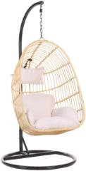 Beliani Hangstoel met standaard rotan beige/zwart CASOLI