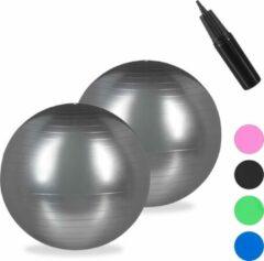 Relaxdays 2x fitnessbal 75 cm - pompje - gymbal - zitbal - yogabal - pilatesbal - zilver
