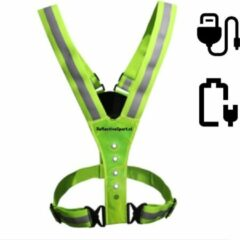 Invincer / ReflectiveSport Invincer ReflectiveSport - Led HARNAS – Reflectie Led Vest USB oplaadbaar- Hardloophesje - Hardloop verlichting - Hardloop Lampje – Geel