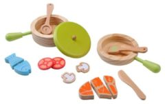 Everearth Speelgoed servies set hout multicolor