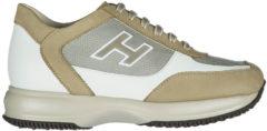 Beige Hogan Scarpe sneakers uomo in pelle new interactive h flock