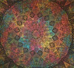 "Sankalpa® wandkleed groot - Mandala kleed ""Powerful"" – -biologisch katoen - Bedsprei – Strandlaken - Picknickkleed - Wanddecoratie – 225x200cm tie-dye multicolour"
