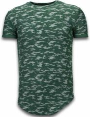 Justing Fashionable Camouflage T-shirt - Long Fit Shirt Army Pattern - Groen Heren T-shirt S