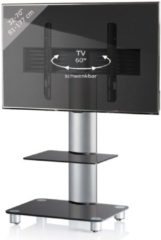 TV-Standfuß LED Ständer Fernseh Standfuss Alu Glas Universal 'Tosal Zwischenboden' Universell VESA VCM Schwarzglas