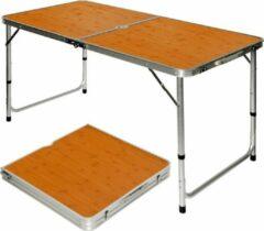 Bruine AMANKA Opvouwbare stabiele campingtafel 120x60x70cm in hoogte verstelbare draagbare koffer grootte aluminium bamboe