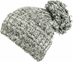 AOP Warme wintermuts met omslag met pompon van acryl kleur wit zwart melee maat one size